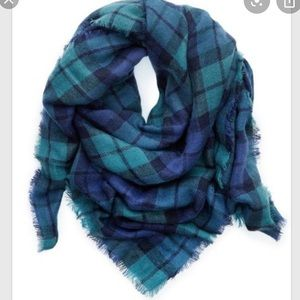Aerie Plaid Blue and Green Blanket Scarf